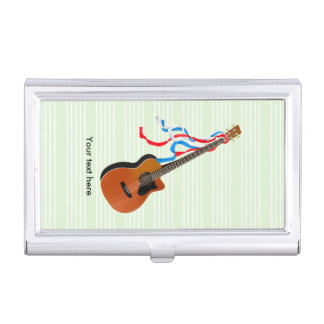 Acoustic Bass guitar, red white and blue ribbons Business Card Holder