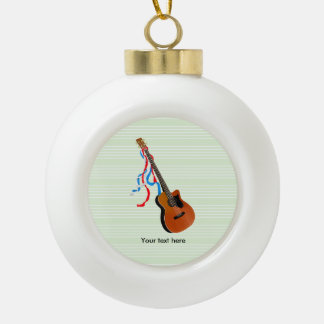 Acoustic Bass guitar, red white and blue ribbons Ceramic Ball Decoration
