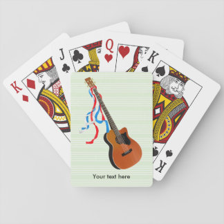 Acoustic Bass guitar, red white and blue ribbons Playing Cards