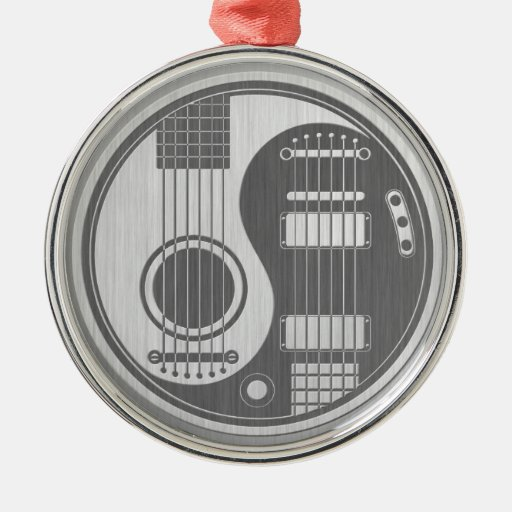 Acoustic Electric Guitars Yin Yang Stainless Steel Christmas Ornament