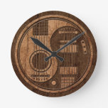Acoustic Electric Guitars Yin Yang Wood Effect Clock