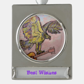 Acoustic Fish Hawk (best wishes) Silver Plated Banner Ornament