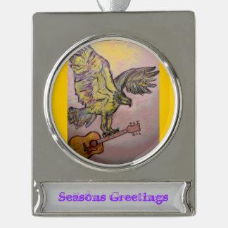 Acoustic Fish Hawk (seasons greetings) Silver Plated Banner Ornament