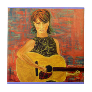 acoustic girl art small square tile