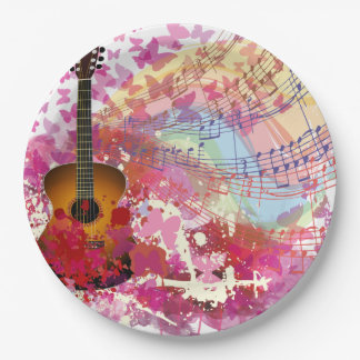Acoustic Guitar and Butterflies Paper Plate