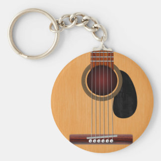 Acoustic Guitar Basic Round Button Key Ring