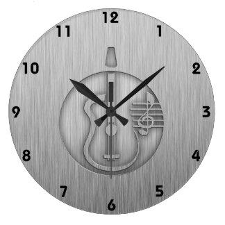 Acoustic Guitar; Brushed metal-look Large Clock