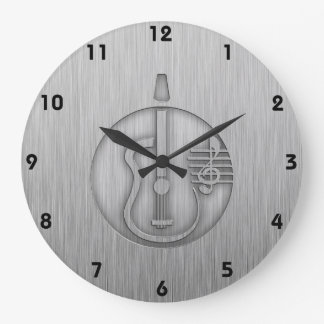 Acoustic Guitar; Brushed metal-look Wallclock