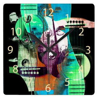 Acoustic guitar collage - jazz wallclocks