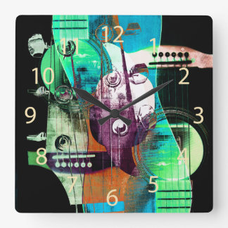 Acoustic guitar collage - jazz wallclocks
