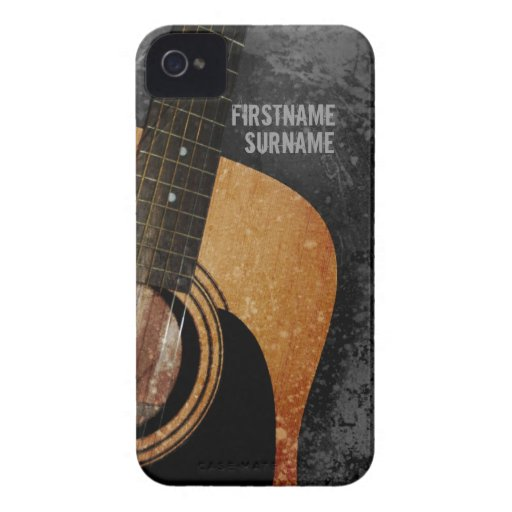 Acoustic Guitar Grey Grunge Custom iPhone 4 Case