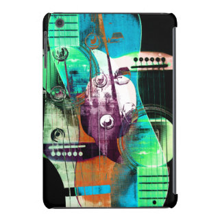 Acoustic guitar jazz urban abstract collage iPad mini case