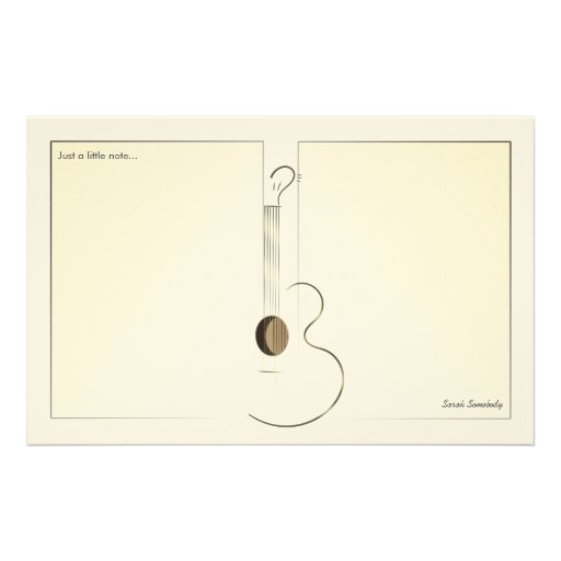 Acoustic Guitar Logo Design Notepaper Personalized Stationery