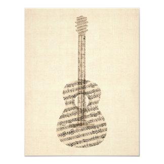 Acoustic Guitar Old Sheet Music 11 Cm X 14 Cm Invitation Card