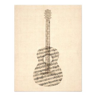 Acoustic Guitar Old Sheet Music Invite