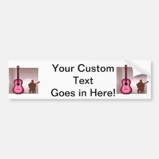 acoustic guitar player sitting pink.png bumper sticker