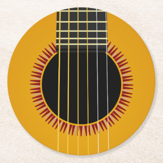 Acoustic Guitar Round Paper Coaster