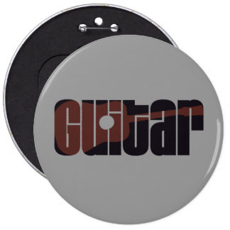 Acoustic Guitar Rust 6 Cm Round Badge