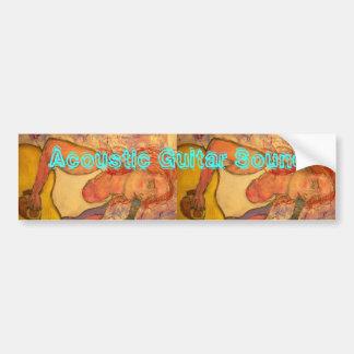 Acoustic Guitar Sound Girl Bumper Sticker