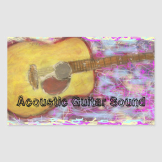 Acoustic Guitar Sound Rectangular Sticker