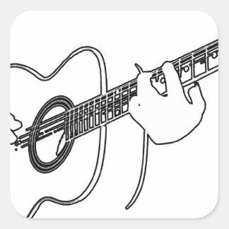 acoustic guitar square sticker