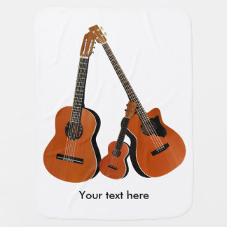 Acoustic Guitar Ukulele and Acoustic Bass Baby Blanket