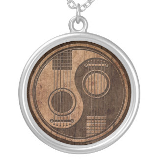 Acoustic Guitars Yin Yang with Wood Grain Effect Silver Plated Necklace