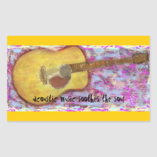 acoustic music soothes the soul rectangular stickers