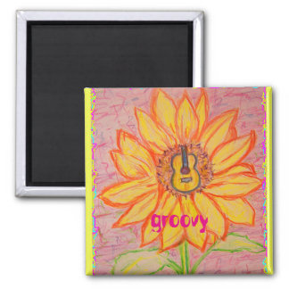 Acoustic Sunflower groovy Square Magnet