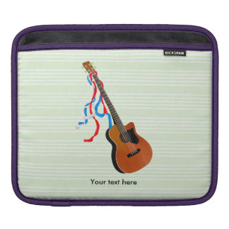 Acoutic Bass Guitar Illustration iPad Sleeves