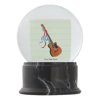 Acoutic Bass Guitar Illustration Snow Globe