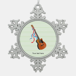 Acoutic Bass Guitar Illustration Snowflake Pewter Christmas Ornament