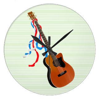 Acoutic Bass Guitar Large Clock