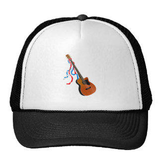 Acoutic Bass Guitar Music Pattern Cap