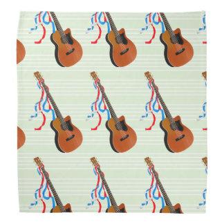 Acoutic Bass Guitar Music Pattern Head Kerchief