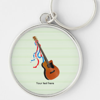 Acoutic Bass Guitar Music Pattern Silver-Colored Round Key Ring