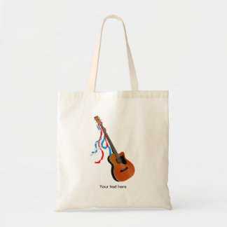 Acoutic Bass Guitar Music Pattern Tote Bag