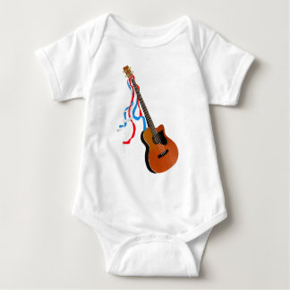 Acoutic Bass Guitar Patriotic ribbons Baby Bodysuit