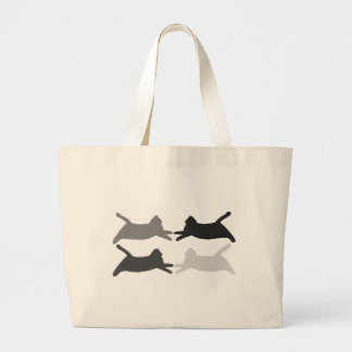 Acrobat black gray silhouette cats tote bags