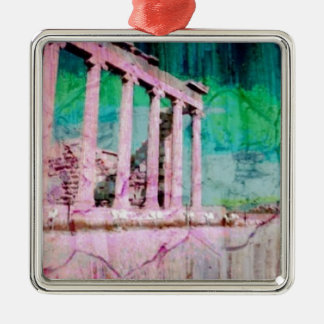 Acropolis Series Silver-Colored Square Decoration