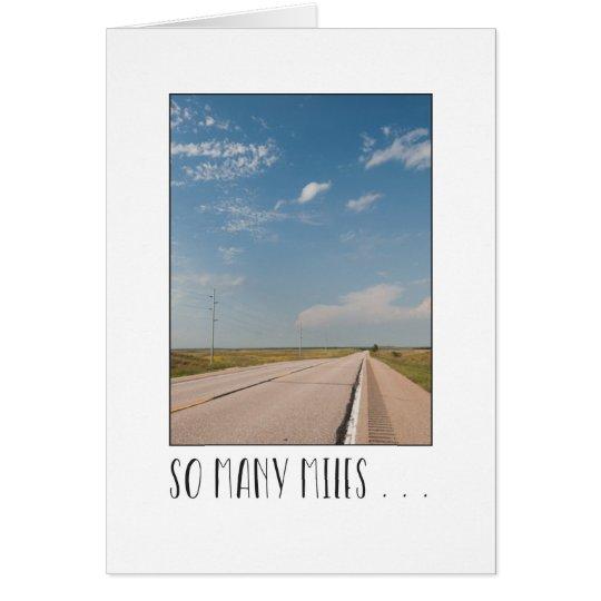 Across the miles empty highway scene card
