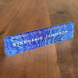Acrylic Desk Nameplate, Blue Abstract Nameplate
