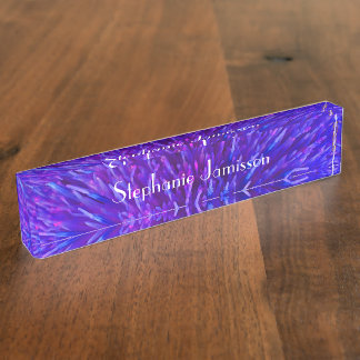 Acrylic Desk Nameplate, Purple Abstract Nameplate