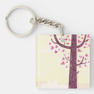 Acrylic keychaine : Valentine tree edition Double-Sided Square Acrylic Key Ring