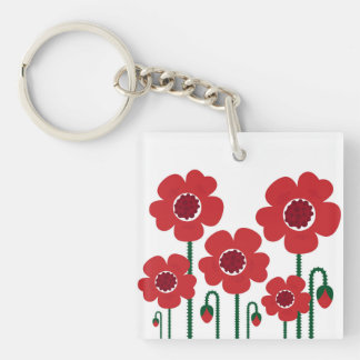 Acrylic keychaine : with Big red flowers Double-Sided Square Acrylic Key Ring