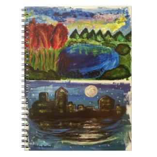 Acrylic landscape&night town paintings note nest notebook