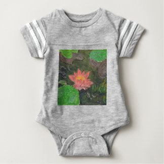 Acrylic on canvas, pink water lily flower baby bodysuit
