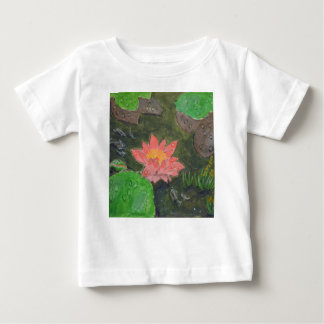 Acrylic on canvas, pink water lily flower baby T-Shirt