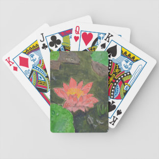 Acrylic on canvas, pink water lily flower bicycle playing cards