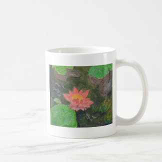 Acrylic on canvas, pink water lily flower coffee mug